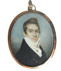 An elegant portrait of a Gentleman wearing a portrait miniature on a stickpin attributed to the Irish artist Charles Robertosn for sale with Ellison Fine Art.