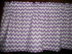 "New Valance Lavender White Chevron Zig Zag Striped fabric topper curtain 42""x13"" #Handmade #Traditional"
