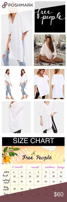 """Free People City Slicker Oversized Tunic.  NWT. Free People White We The Free City Slicker Oversized Tunic, polyester/cotton/rayon, machine washable, 33"""" armpit to armpit (64"""" all around), 38"""" length, 22"""" side-slits, find your way through the city in this Free People tunic, soft semi-sheer cotton blend fabrication in an oversized silhouette, V-neckline, short sleeves, straight hem with exaggerated side slits, unfinished edges, pullover style, measurements are approx.  NO TRADES Free People…"""