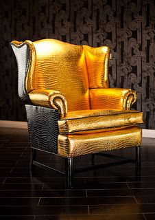8068 SUPER GLAM WINGBACK CHAIR UPHOLSTERED IN GOLD AND BLACK CROCO AND TRIMMED WITH BLACK NAILHEADS | Flickr - Photo Sharing!