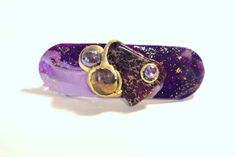 Womens Dramatic Royal Purple, Gold, Amethyst and Stone French Clip, Hair Accessory, Hair Jewelry