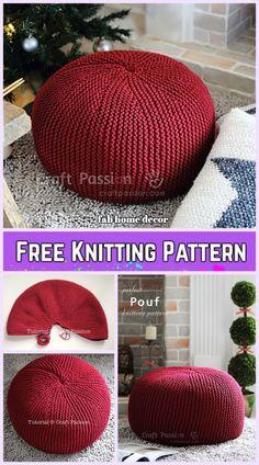 Garter Stitch Knit Pouf Free Knitting Pattern - Knitting and Crochet Vogue Knitting, Loom Knitting, Free Knitting, Knitting Machine, Vintage Knitting, Knitted Pouffe Pattern, Pouf En Crochet, Knit Or Crochet, Crochet Granny