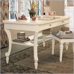 Portofino Writing Desk in Ivory : Young America Dyi Bookshelves, White Writing Desk, Superior Homes, Feminine Home Offices, Room Planning, Inspired Homes, Home And Living, Home Furniture, Furniture Ideas