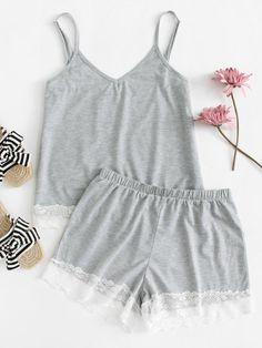 Lace Contrast Cami Top & Shorts PJ Set -SheIn(Sheinside)