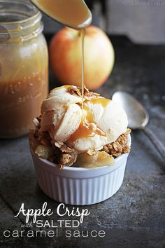 APPLE CRISP WITH SALTED CARAMEL SAUCE