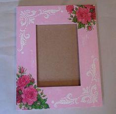Hecha a mano afligidos-Vintage Look rosa de madera cuadro