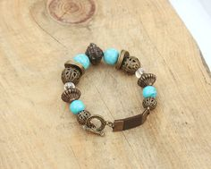 Turquoise Beaded Bracelet, Bronze, Clear, Turquoise Beads, Dark Brown Faux Leather Strap - Boho Chic Jewelry, Bohemian, Handmade - For Women