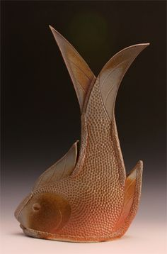 Jo Anne DeKeusterWood Fired White Stoneware x x Fish Sculpture, Pottery Sculpture, Pottery Vase, Ceramic Pottery, Ceramic Animals, Clay Animals, Pottery Lessons, Clay Fish, Pottery Handbuilding