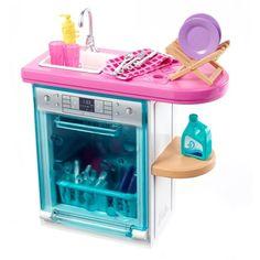 Barbie Indoor Furniture Set with Kitchen Dishwasher & Accessories, Multicolor Barbie Doll Set, Doll Clothes Barbie, Barbie Doll House, Barbie Dream House, Mattel Barbie, Barbie Stuff, Girl Dolls, Diy Barbie Furniture, Barbie Furniture Tutorial