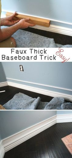 Home Improvement Hacks. - Easy Faux Thick Baseboard Trick - Remodeling Ideas and DIY Home Improvement Made Easy With the Clever, Easy Renovation Ideas. Kitchen, Bathroom, Garage. Walls, Floors, Baseboards,Tile, Ceilings, Wood and Trim. http://diyjoy.com/home-improvement-hacks