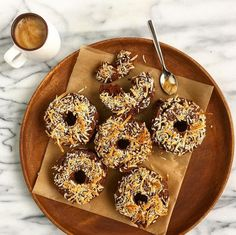 Chocolate Coconut Donuts shared by biggirllifeblog. 1/2 cup coconut flour, 3 scoops chocolate Perfect Fit Protein, 1 tsp baking powder, 5 tbsp cacao powder, 1/2 tsp sea salt, 1/2 cup maple syrup, 1 cup unsweetened almond milk, 1 tsp vanilla extract, 1/2 cup egg whites, 2 tbsp coconut oil, coconut flakes. Mix dry ingredients together. In a separate bowl, combine wet ingredients. Stir into dry mixture. Spray donut pan with non-stick cooking spray. Bake at 300 degrees for 25-30 minutes.