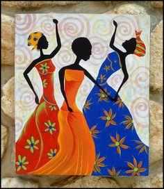 """Mulheres Haitianas coloridas dançando Pintura em tela pintado à mão - Arte original do Haiti - 20 """"x 24"""" - CP-1064"""
