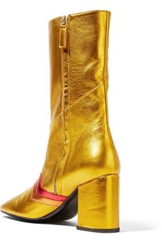 MR by Man Repeller - I'm Here To Party Metallic Leather Boots - Gold - IT36.5