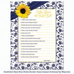 """Yellow sunflower navy blue floral damask and ribbon """"who knows the bride best"""" bridal shower game instant downloadable by wasootch, $5.00  You get two pdf files. One for printing at home and one for printing professionally. Whatever you choose."""