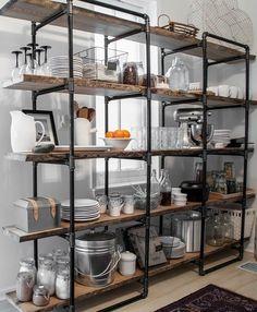 15 Wonderful Industrial Kitchen Shelf Design Ideas To Organize Your Kitchen Kitchen Shelf Design, Kitchen Shelves, Open Shelves, Timber Shelves, Kitchen Units, Regal Design, Küchen Design, Design Ideas, Design Inspiration