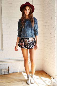 Kimchi blue plush sweater with afowernprint skirt