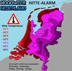 HITTE-ALARM, & HITTE-PLAN  In de vijf jaar dat Noodweer-Nederland bestaat is er nog geen één keer een Hitte-Alarm afgekondigd. Toch komt daar deze week verandering in.  Voor aanstaande Woensdag tot Zondag wordt er lang aanhoudende hitte verwachten met temperaturen rond de 30 tot 38 graden Celsius, Zeer lokaal zelf nog 1 a 2 graden meer.  RIVM heeft het Nationaal Hitteplan tevens ook al klaarliggen.