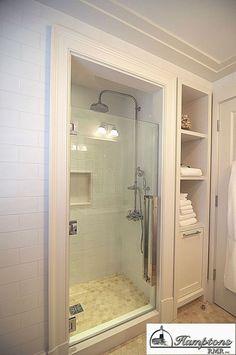 Small bathroom storage 695172892451377268 - option to add smaller stall and move closet beside it? DesignMine Photo: Contemporary Bathroom Source by Ideas Baños, Decor Ideas, Tile Ideas, Decorating Ideas, Backsplash Ideas, Kitchen Backsplash, Interior Decorating, Master Bath Remodel, Remodel Bathroom