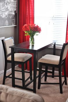 Pub table and chairs for small dining space Table For Small Space, Chairs For Small Spaces, Small Space Design, Small Space Kitchen, Small Dining, Small Space Living, Apartment Kitchen, Apartment Living, Pub Table And Chairs