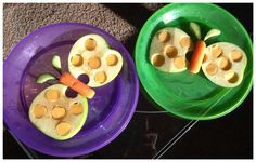 Apple butterflies with carrots for the body and cheese for the dots!