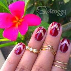 Dark Red Gold Details Nail Design