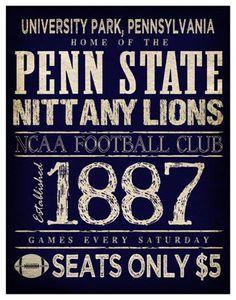 0743303fe5095 Penn State Nittany Lions Poster - 11x14 - Pennsylvania Football Print.   22.00