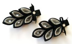 Kanzashi hair clip. Set of 2 hair clips. Black and silver.