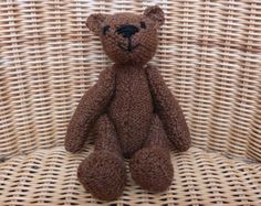 8 Traditional  Rust  Brown Teddy Bear Home-Made Old by WoolyLily