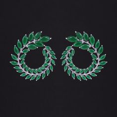 Luxury Brand Design aaa Milk Green Colored Cubic Zirconia Big Size Olive Branch Leaves Stud Earrings
