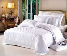 Free Shipping White Duvet Cover Hotel Bed Set High Quality 100%Cotton  Pure Color 4PC Bedding Modern in Bag Stripe