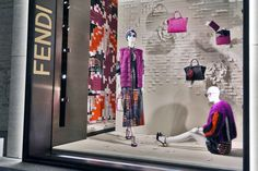 The Fendi PreFall15 collection displayed in the new boutique window theme in New York.