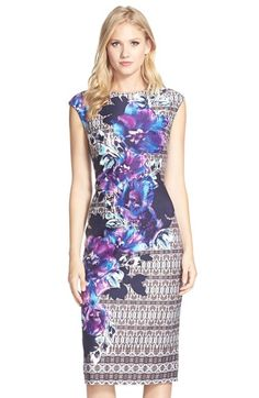 Vince Camuto Floral Print Scuba Midi Sheath Dress available at #Nordstrom