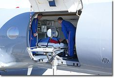 Preparing air ambulance transport of patient for extended flight. #ambulance #flight #service #transport