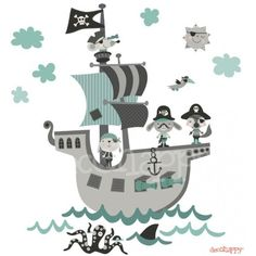 Vinilo infantil de tela Barco Pirata mint