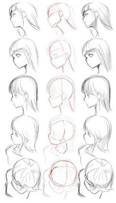 ▷ 1001 + ideas on how to draw anime - tutorials + pictures face drawing, from different angles, anime boy drawing, black and white, pencil sketch Drawing Reference Poses, Drawing Poses, Drawing Tips, Hair Reference, Design Reference, Anatomy Reference, Drawing Heads, Anime Face Drawing, Face Profile Drawing