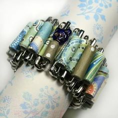 Safety Pin Jewelry | Paper Bead Safety Pin Bracelet | Paper Bead Jewelry