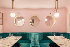 North Audley Canteen is a French restaurant in Mayfair. Murs Roses, Pub Set, Vogue Living, Art Deco, Pink Walls, Commercial Interiors, Restaurant Design, Luxury Restaurant, Pink Restaurant London