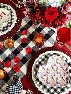 At the Table: Special Delivery of Hearts and Flowers for Valentine's Day Valentines Day Tablescapes, Valentine Decorations, Mikasa French Countryside, Valentine Flower Arrangements, Flowers For Valentines Day, Red Rose Petals, Red Cottage, Buffalo Check, A Table