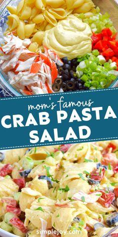 Crab Pasta Salad, Pasta Bar, Seafood Salad, Seafood Pasta, Crab Dishes, Pasta Dishes, Salad Dressing Recipes, Healthy Salad Recipes, Food For A Crowd
