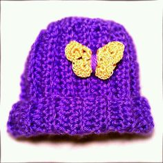 Vertically Ribbed Newborn Hat with Butterfly