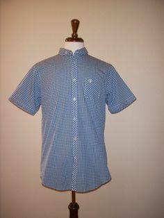 BEN SHERMAN Green Blue White Cotton Button-down PLAID Work SHIRT XL X-LARGE #BenSherman #ButtonFront