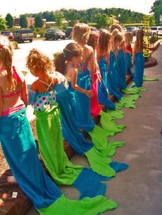 Mermaid towels, cute idea for party favors.