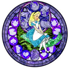 *ALICE in WONDERLAND ~ I've never seen an Alice stained glass before! They only had a few of the princesses on Kingdom Hearts! Disney Artwork, Disney Fan Art, Disney Love, Disney Stained Glass, Stained Glass Art, Arte Disney, Disney Magic, Disney And Dreamworks, Disney Pixar