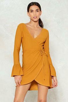 d14739df52c1 Nasty Gal Make an Effort Wrap Dress Mustard Size UK 8 DH181 CC 18 #fashion