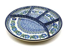 Polish Pottery Dish  Divided Appetizer  Blue Pansy * Read more at the affiliate link Amazon.com on image.