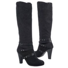"""Fergalicious Boots Cassandra is a tall boot with strap accents at the ankle and a stacked heel.  Heel Height: 3 1/2"""" Origin: Imported Fit: True to Size Outsole: Synthetic Upper: Manmade Leather Special Features: Designer, Stacked Heel Item #: 16560433 Fergie Shoes Heeled Boots"""