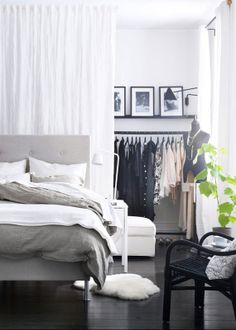 No closet small bedroom solutions on pinterest for Small room no closet solutions