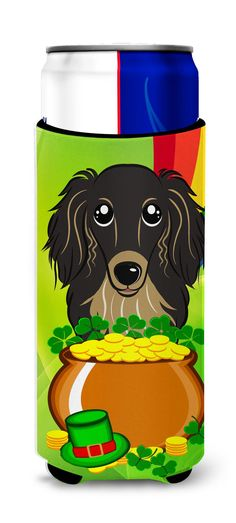 Longhair Black and Tan Dachshund St. Patrick's Day Michelob Ultra Beverage Insulator for slim cans BB1957MUK