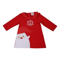 The Red Knit Applique Santa Dress features a Classic Santa Face Applique on a Red Knit Fabric Dress. This dress will look adorable on your little girl this Holiday season! Personalize this Christmas Dress with a White Vine Monogram. Toddler Girl Christmas Outfits, Girls Christmas Dresses, Cecil And Lou, Santa Dress, Red Gingham, Striped Knit, Girls Shopping, Applique, Knitting