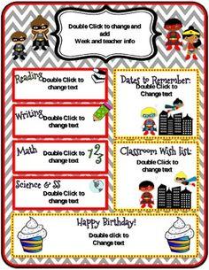 superhero themed newsletter templates tpt misc lessons